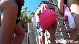 Hot girls going up the stairs in bikini 1