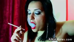 Hot Babe Ruby Red Lips Smoking 120
